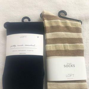 2 pcs. Loft brand opaque tights and Loft boot sock